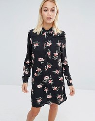 Fashion Union Shirt Dress In Floral Print With Tie Neck Black