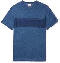 Faherty Slim Fit Striped Slub Cotton Jersey T Shirt Blue