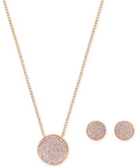 Swarovski Pave Disc Pendant Necklace And Matching Stud Earrings Set Rose Gold