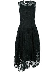 Simone Rocha Floral Embroidered Long Sheer Dress Black