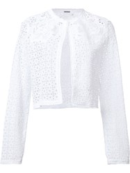 Elie Tahari Embroidered Cropped Jacket White