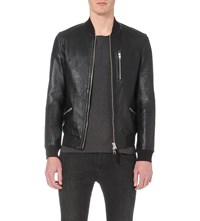 Allsaints Utility Leather Bomber Jacket Black