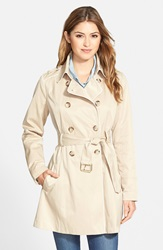 Guess Piped Fit And Flare Trench Coat Khaki