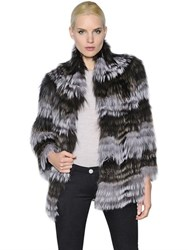Yves Salomon Striped Fox Fur Jacket