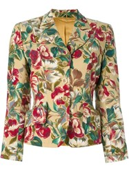Kenzo Vintage Floral Print Fitted Jacket Nude And Neutrals