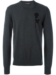 Dolce And Gabbana Embroidered Rose Patch Jumper Grey