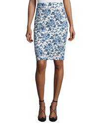 Carolina Herrera Toile De Jouy Pencil Skirt Navy White