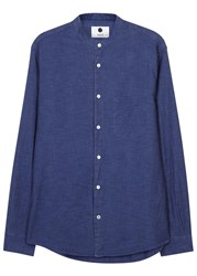Nn.07 Devon Blue Grandad Collar Cotton Shirt