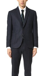 Brooklyn Tailors Unstructured Tweed Herringbone Jacket Midnight Blue