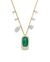 Meira T 14K White And Yellow Gold Emerald Pendant Necklace With Diamonds 16 Green White