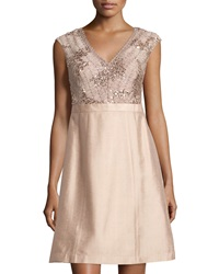 Kay Unger New York Sleeveless Sequined Lace Cocktail Dress Petal