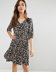 Trollied Dolly Lace For Life Floral Print Dress Black