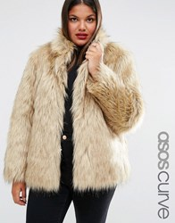 Asos Curve Coat In Vintage Faux Fur Beige