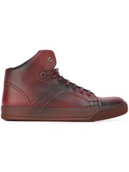 Lanvin Hi Top Spray Paint Sneakers Red