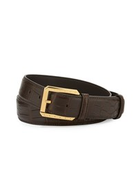 Stefano Ricci Crocodile Belt W Golden Buckle Black Men's Brown