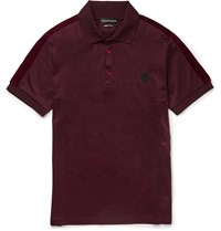 Alexander Mcqueen Slim Fit Velvet Trimmed Mercerised Cotton Jersey Polo Shirt Purple