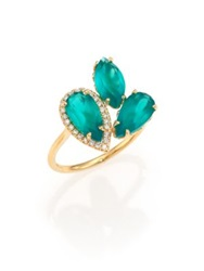 Suzanne Kalan Soleil Green Onyx Diamond And 14K Yellow Gold Cluster Ring Gold Turquoise