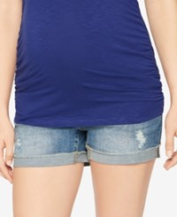 A Pea In The Pod Cuffed Denim Maternity Shorts Med Wash