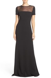 Vera Wang Women's Illusion Yoke Woven Fit And Flare Gown