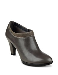 Anne Klein Dalayne Leather Ankle Booties Dark Grey