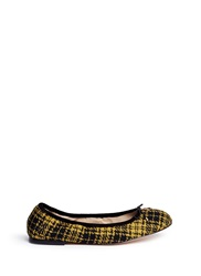 Sam Edelman 'Felicia' Plaid Brahma Hair Ballerina Flats Yellow