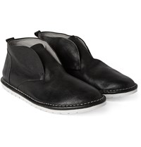 Marsell Full Grain Leather Slip On Chukka Boots Black