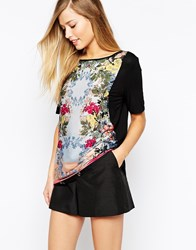 Oasis Shadow Rose Woven Front T Shirt Black