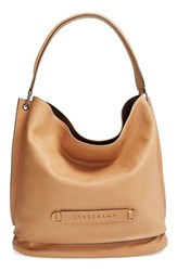 Longchamp '3D' Leather Hobo Beige Nude