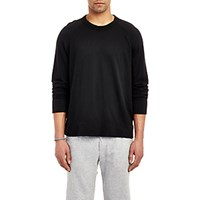 James Perse Men's Raglan Sleeve Long Sleeve Pullover Black Blue Black Blue