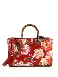 Gucci Bamboo Shopper Blooms Leather Tote Cerese Rose Pink Apricot