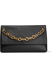 Michael Kors Collection Mia Chain Embellished Leather Clutch Black