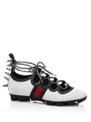 Gucci Titan Spiked Glitter Web Sneakers Silver Black