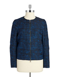 Anne Klein Zip Front Blazer Black Blue