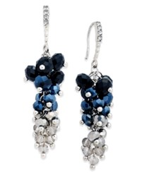 Inc International Concepts Silver Tone Jet Stone And Crystal Cluster Drop Earrings Only At Macy's