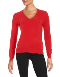 Lord And Taylor Basic V Neck Cashmere Sweater Fireball