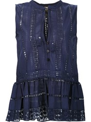 Sea Eyelet Sleeveless Blouse Blue