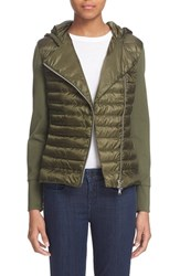 Women's Moncler 'Maglia' Quilted Down Asymmetrical Zip Hoodie Dark Green