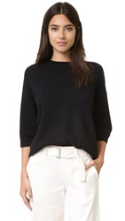 Vince 3 4 Sleeve Crew Neck Sweater Black