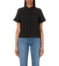 French Connection Polly Plains Frill Sleeve Sheer Shirt Black