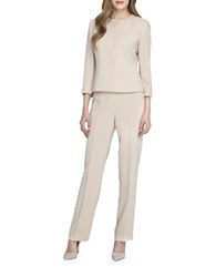Tahari By Arthur S. Levine Pearl Beaded Jacket Pant Suit Nude