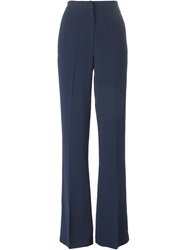 Msgm High Waist Flared Trousers Blue