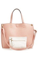 Street Level Junior Women's Reversible Faux Leather Tote Pink Rose Ivory