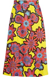 House Of Holland Floral Print Crepe Skirt Yellow