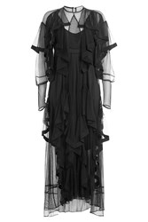 Preen By Thornton Bregazzi Dress With Sheer Inserts And Tiers Black