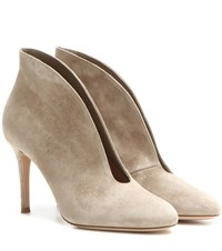 Gianvito Rossi Vamp 85 Suede Ankle Boots Beige