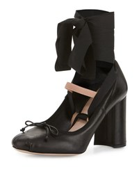 Miu Miu Leather Ankle Wrap Mary Jane 85Mm Pump Nero