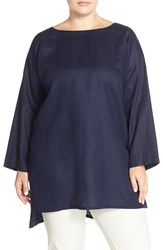 Plus Size Women's Eileen Fisher Organic Linen Ballet Neck Tunic Midnight