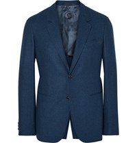 Caruso Blue Butterfly Slim Fit Wool And Cashmere Blend Blazer Storm Blue