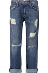 Current Elliott The Boyfriend Distressed Low Rise Boyfriend Jeans Dark Denim