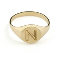 Myia Bonner Round Facett Initial Signet Ring 18 Ct Gold Plated Sterling Silver